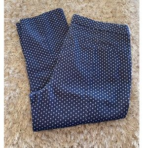 Elle Blue and White Polka Dot Cropped Pants